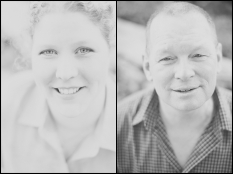 Eric + Amy Engagement Session Head Shots Black and white