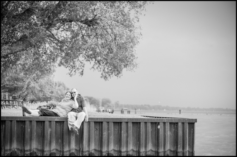 Eric + Amy Engagement Session Having Fun St Clair River Black and white